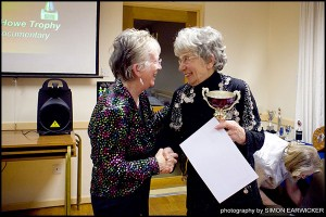 Freddy congratulates Barbara for winning the Alice Howe Trophy