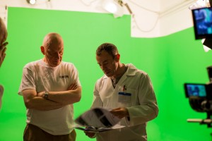 Checking storyboards in the green screen studio - shame I didn't check the waveform monitor!