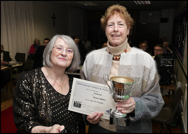 Barbara wins the Top Ten Trophy, Brenda presents